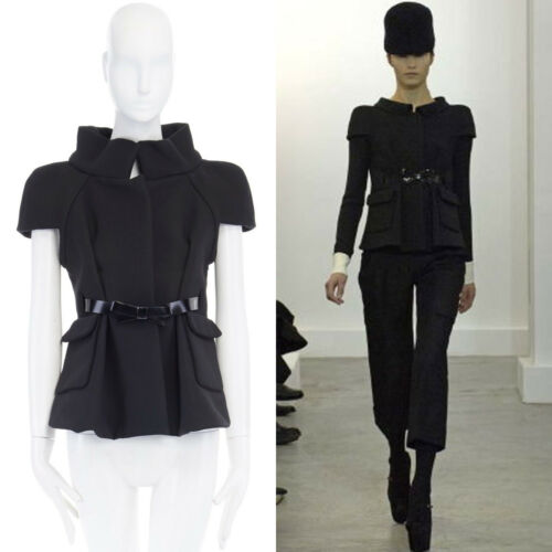 Runway Balenciaga Ghesquiere Aw06 Black Structured Neoprene Wool Jacket Fr40 by Balenciaga