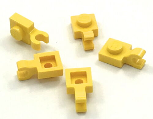 Lego 5 New Yellow Plates Modified 1 x 1 with Clip Horizontal Pieces