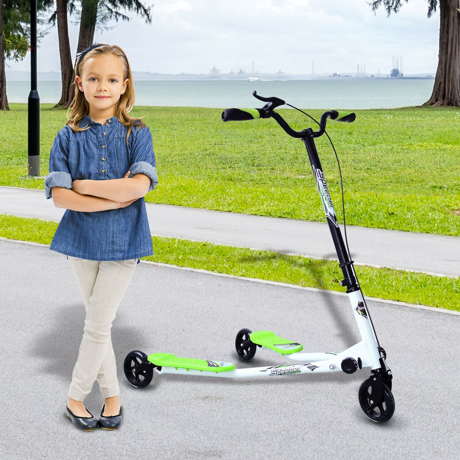 Homcom 3 WHEELS KID Scooter Foldable Speeder Push Motion Tri Slider vert