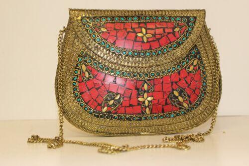 INDIAN Borsa Frizione Borsetta etnico tradizionale con catena lunga accessori fashion