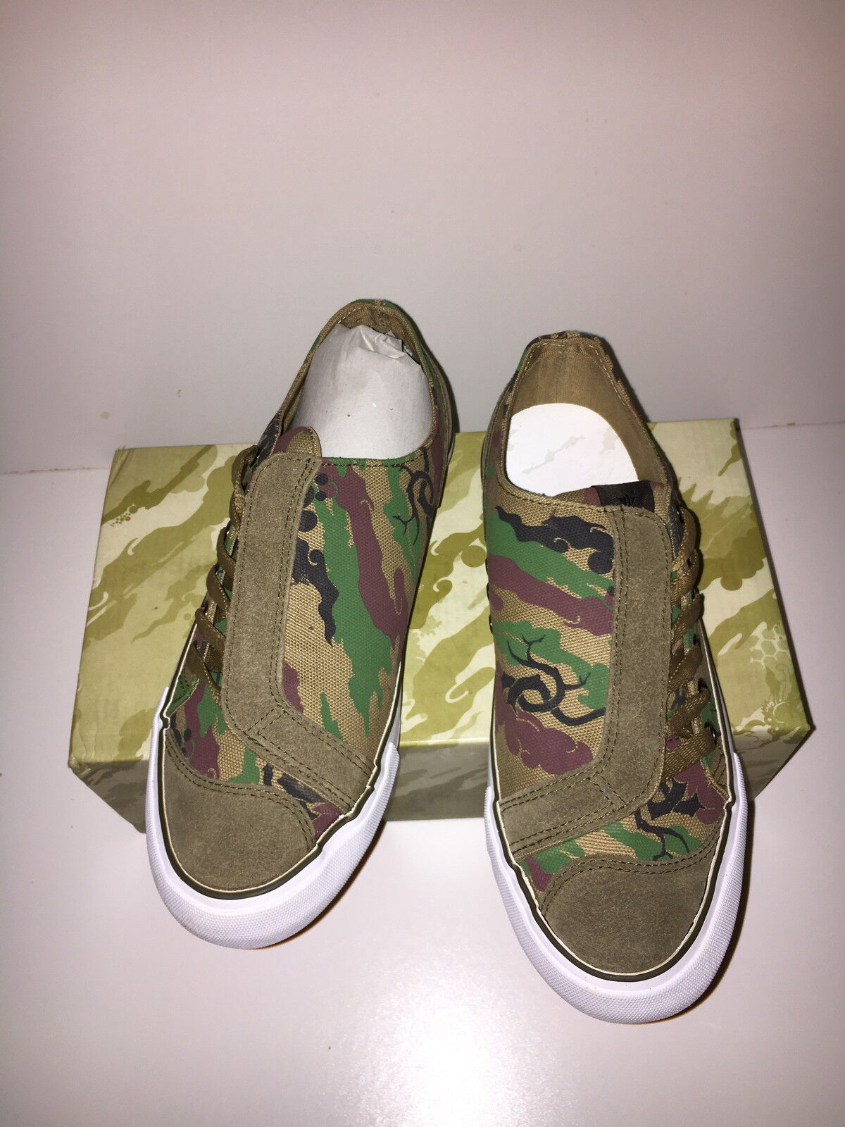 MAHARISHI WOMENS ASYM SUEDE AND CANVAS DAY SHOES IN WOODLAND & OLIVE