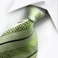 UK016 New Silk Green Stripes Classic WOVEN JACQUARD Necktie Men's Tie