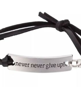 Silver-Plate-Inspirational-Motivational-Quote-Protection-Bracelet-Never-Give-Up
