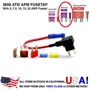 Lumision 16AWG Car Add-A-Circuit ATM APM Mini Fuse Tap Fusetap + Fuse Set