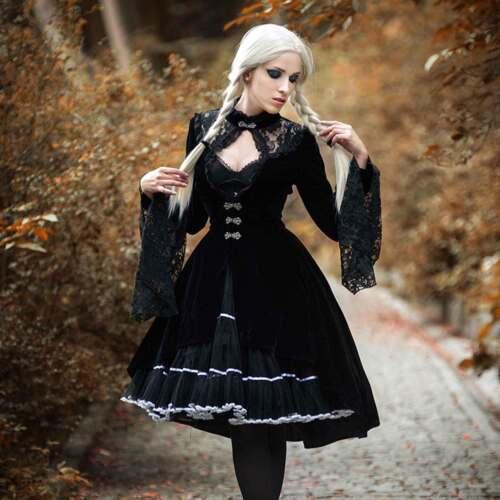 da donna vittoriano pizzo Manteau gotico nero Dark In Love Cappotto di velluto con Nobile K1clJF