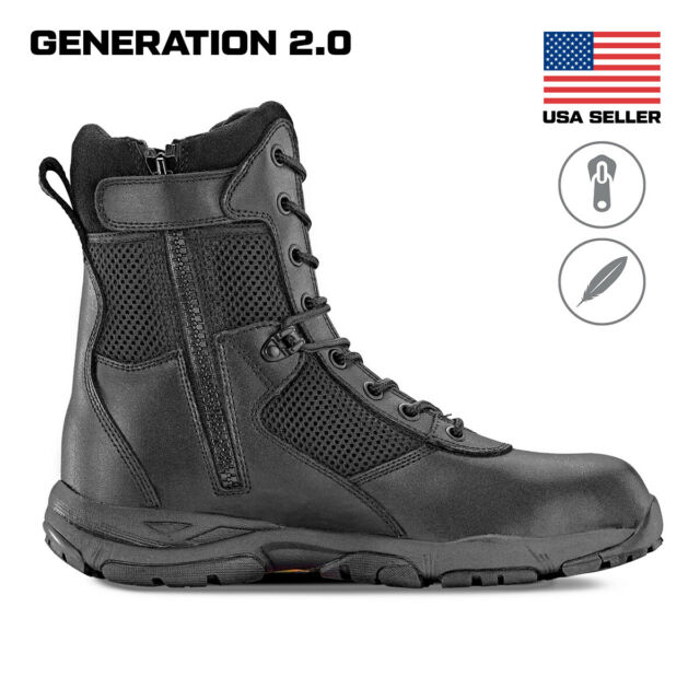 814718b5704 Maelstrom® LANDSHIP 8'' Military Tactical Police Duty Work Boots with Zipper