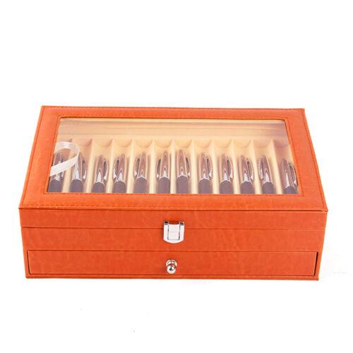 24 Slots PU-Leder Pen Display Case Füllfederhalter Schaukasten Organizer Box DHL