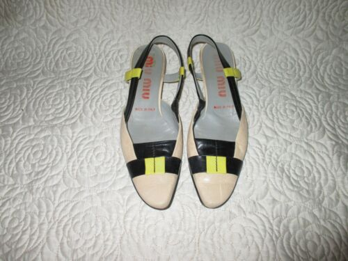 Sling By Woman On Black Leather Shoes 5 37 Back Mui Miu Lime Prada v5q4wtxqI