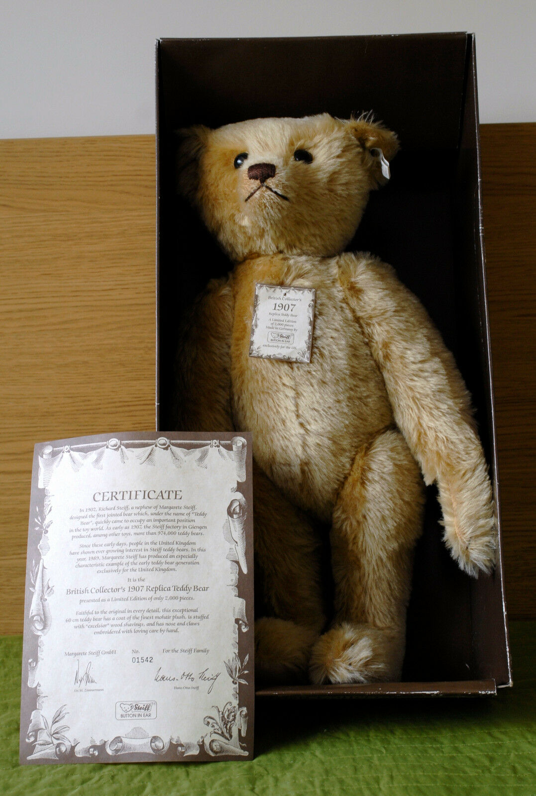 Steiff 1989 1989 1989 EAN 0174 61 British Collector's Replica Teddy Bear 1907 LE 2000 60cm fc7717