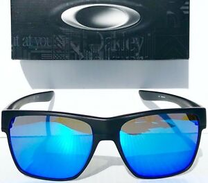 NEW  Oakley TWO FACE XL Matte BLACK Sapphire Blue Iridium Lens ... db2530d76c9a4