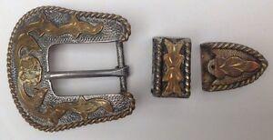 Vintage-Western-Cowboy-Three-Piece-Belt-Buckle
