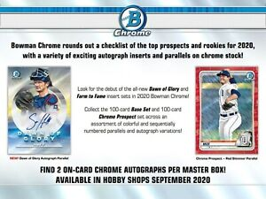 2020 Bowman Chrome Baseball Hobby Box (Presell)