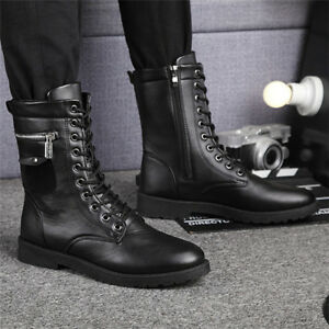Details about Fashion Men\u0027s Zipper Motorcycle Martin Boots Combat Leather  Military Casual Shoe