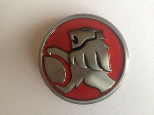 """BELT BUCKLE CAR EMBLEM HOLDEN LIONS HEAD ON RED ENAMEL SUITS 1.5/"""" SNAP ON BELT"""