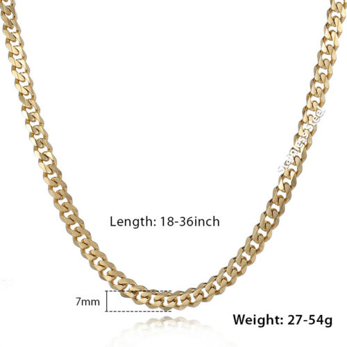 3//5//7//9//11mm Men Gold Plated Curb Cuban Link Chain Necklace Bracelet Jewelry Set