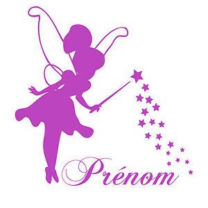 Stickers Disney Fée Clochette personnalisé avec le prénom de votre ... 2af17d64280b