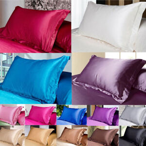 Silk-Satin-Cover-Standard-Queen-Soft-Comfort-Solid-Protector-50-X-70-Pillow-Case