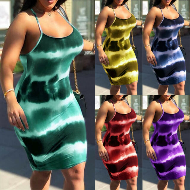 Womens Ladies Strap Short Mini Dress Summer Bodycon Party Slim Cocktail Clubwear