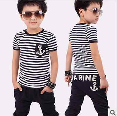 kids boy  girl summer suit striped t-shirt + marine design pants  clothing sets