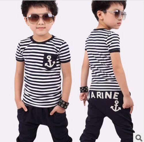 marine design pants  clothing sets kids boy  girl summer suit striped t-shirt