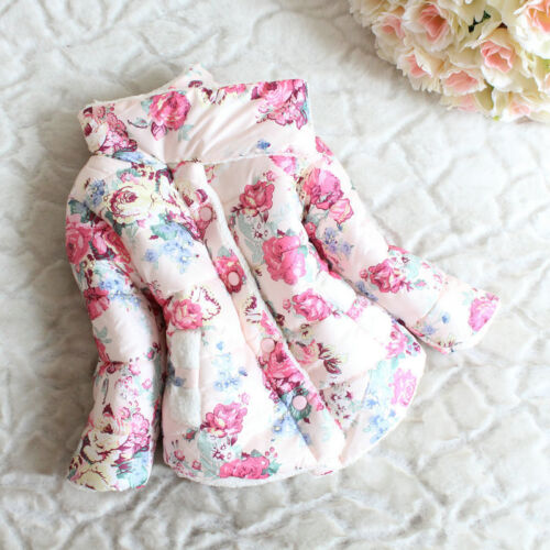 Kids Baby Girls Floral Printed Puffer Jacket Winter Warm Thick Coat Outerwear