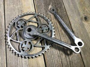VINTAGE-ANTIQUE-BIKE-BICYCLE-AUTOMOTO-CRANKSET-CLOVER-LEAF-DESIGN-170MM-STEEL