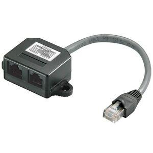 DSL-LAN-Netzwerk-Y-Kabel-Verteiler-1x-RJ45-Stecker-IN-2x-RJ-45-Kupplung-OUT