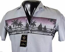 NEW VTG 80s TRIUMPH Of California HAWAIIAN SHIRT Small Gray USA Made! Deadstock!