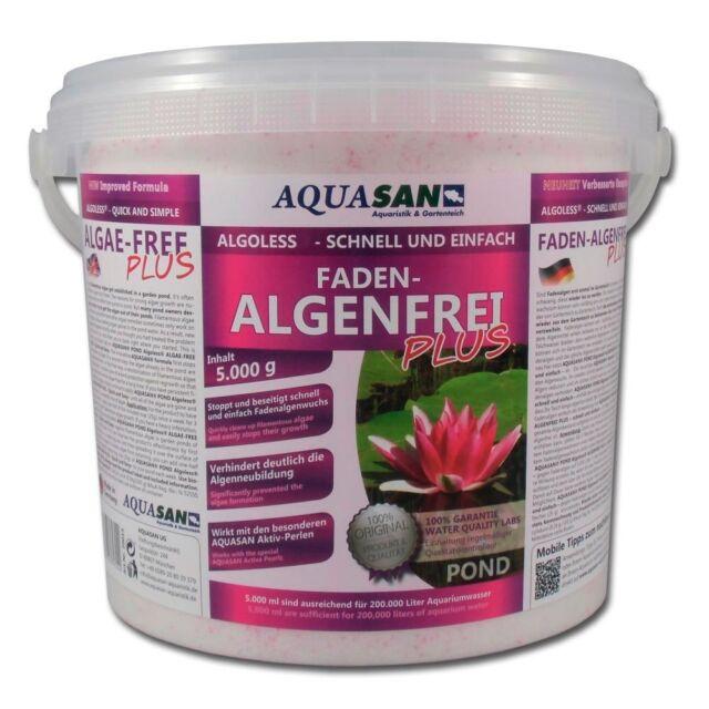 (7,60€/KG) AQUASAN Algoless Fadenalgenfrei 5 KG Algenvernichter Gartenteich