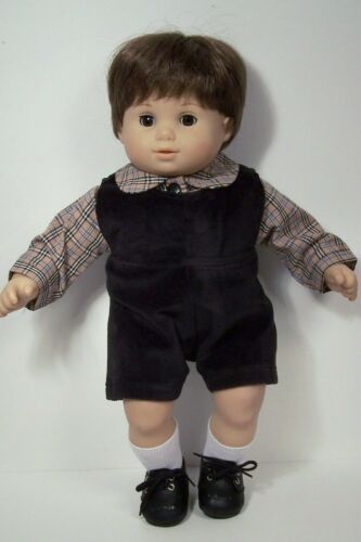 BLACK Plaid Matching Romper Dress Shirt Doll Clothes For Bitty Baby Twins Debs