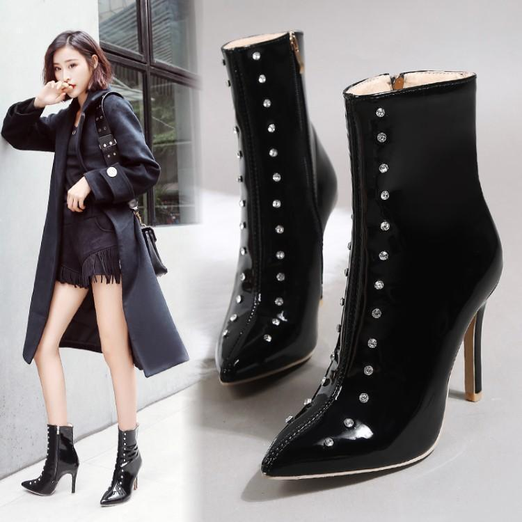 Women Winter New Stylish Pointed Toe Stiletto Rivet Patent Leather Ankle Boots