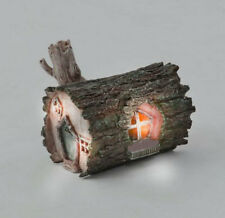 Solar Power Log Garden Fairy House soft White LED Mystical Fairy Garden Ornament