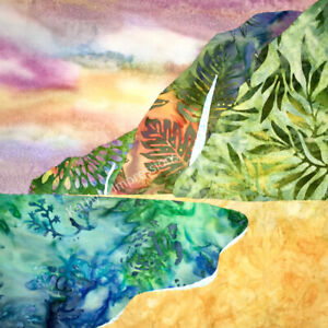 Details About Beach Pastel Sunset Fabric Panel Watercolor Hawaii Quilt Square Polihale Kauai