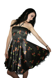 Women-039-s-Cherry-Skulls-Bows-Rockabilly-Bandeau-Sharing-Swing-Dress-Goth-Punk-Emo
