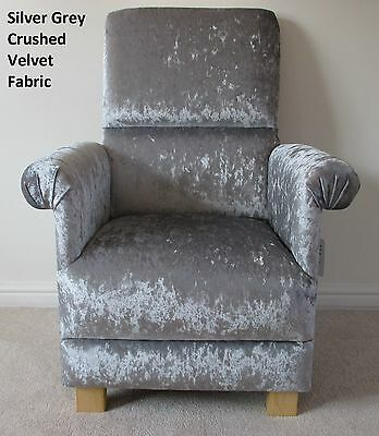 Baby Audacious Silver Grey Crushed Velvet Fabric Adult Chair Bedroom Kitchen Nursery Armchair Bringing More Convenience To The People In Their Daily Life Armchairs