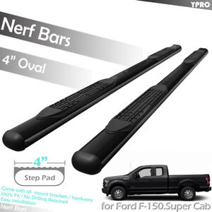 """4/"""" OVAL Curved Black Nerf Bars Pairs For 2015-2019 FORD F-150 SUPER CREW CAB"""