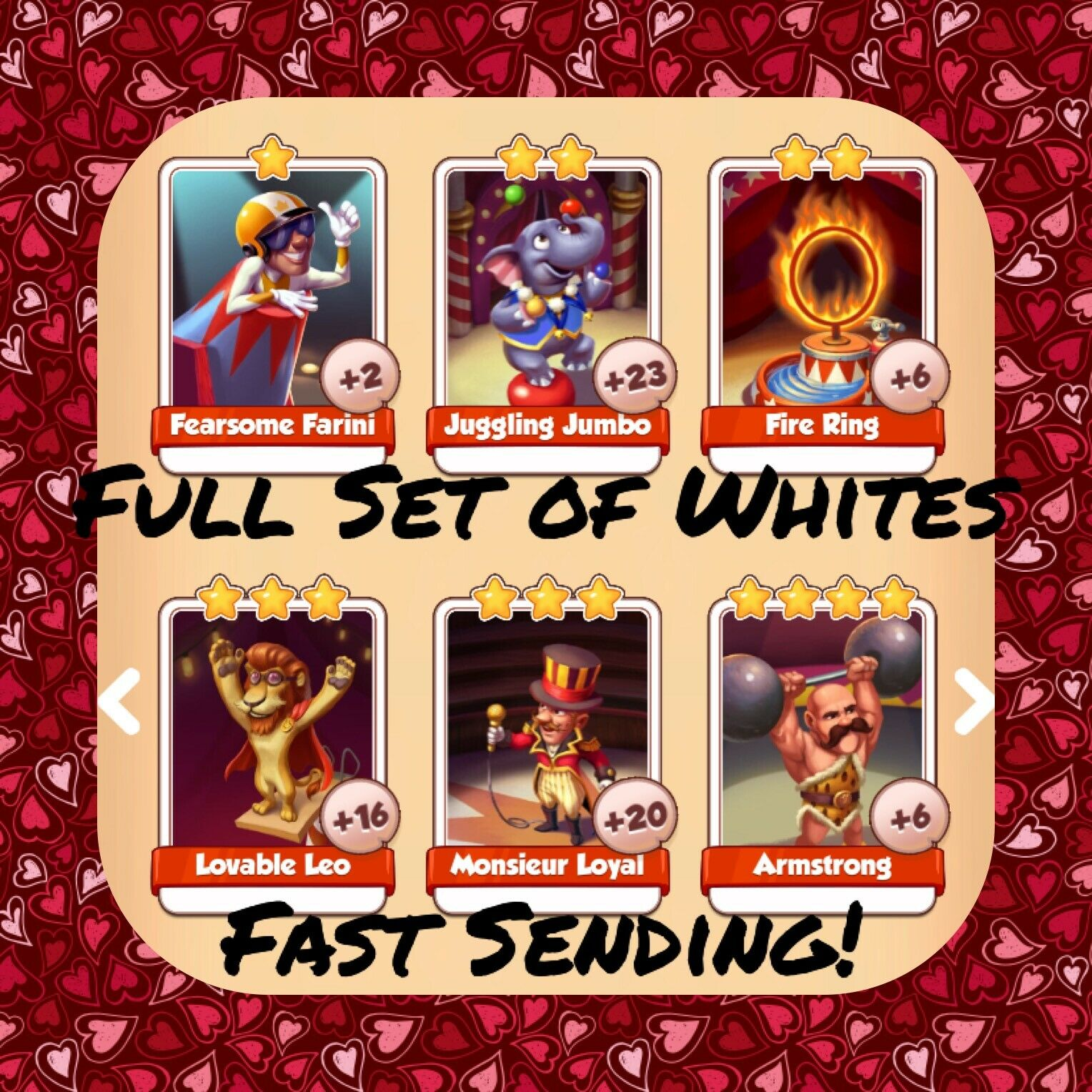 Coin Master Full Circus Set (All 6 Whites) Armstrong Fire Ring Etc (Fast Send)