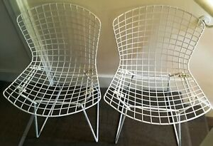 Harry-Bertoia-Knoll-2-x-White-Wire-Side-Chairs-circa-1950-60-Vintage-Original