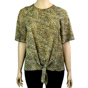 Plus-Taille-Animal-Imprime-Leopard-Tie-Front-Chemisier-Haut-Tailles-16-26