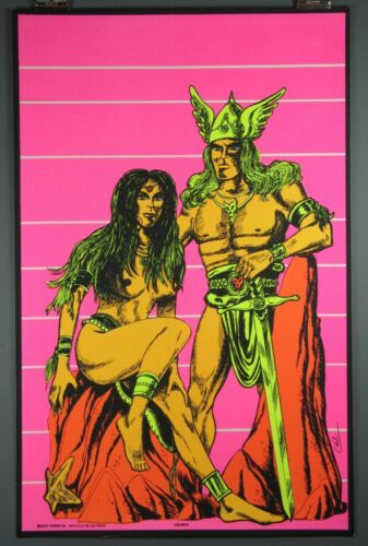 """Viking's"" Vintage Silkscreen Blacklight Poster c.1970"