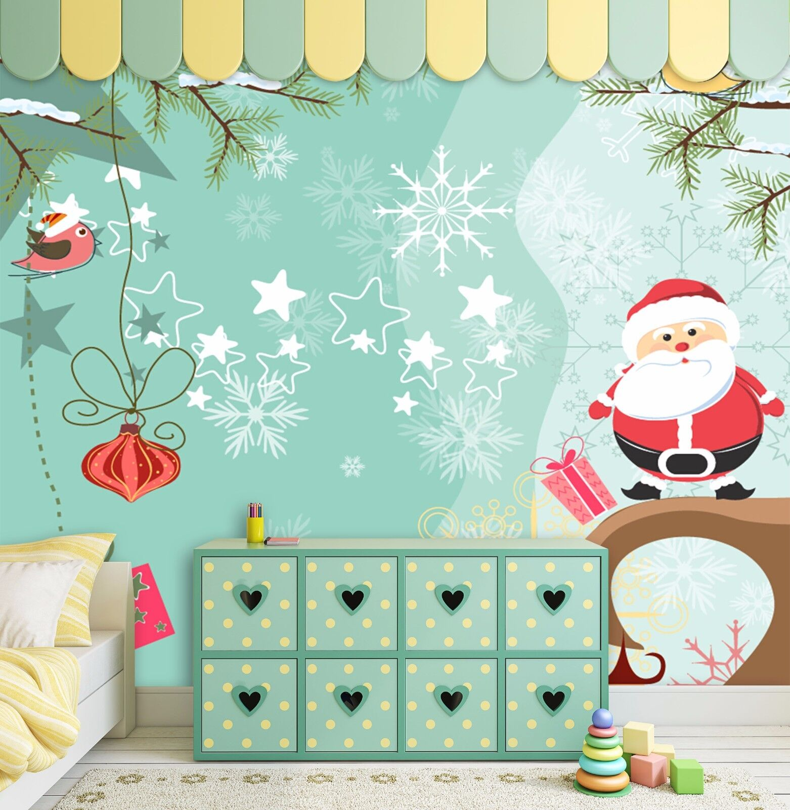 3D Santa Claus Tree 835 Wallpaper Mural Paper Wall Print Wallpaper Murals UK