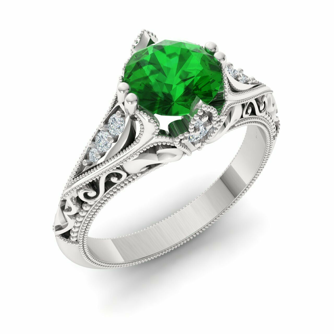 Certified 1.23 Ctw Emerald & Diamond 14k White gold Vintage Look Engagement Ring