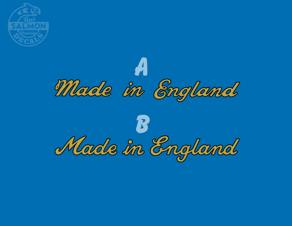READ! Made in England Classic Script Water Slide Decal for Raleigh Triumph BSA