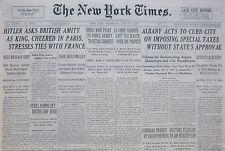 7-1938 July 20 HITLER ASKS BRITISH AMITY AS KING CHEERED IN PARIS STRESSES TIES