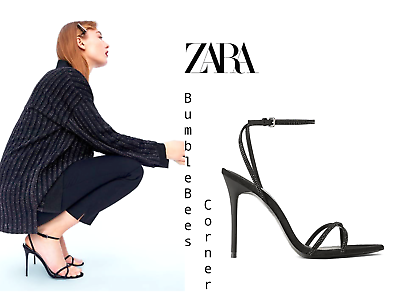ZARA High Heel Sandals BLACK RHINESTONES BEADED STRAPS Velvet Shoes NIB 6704301   eBay