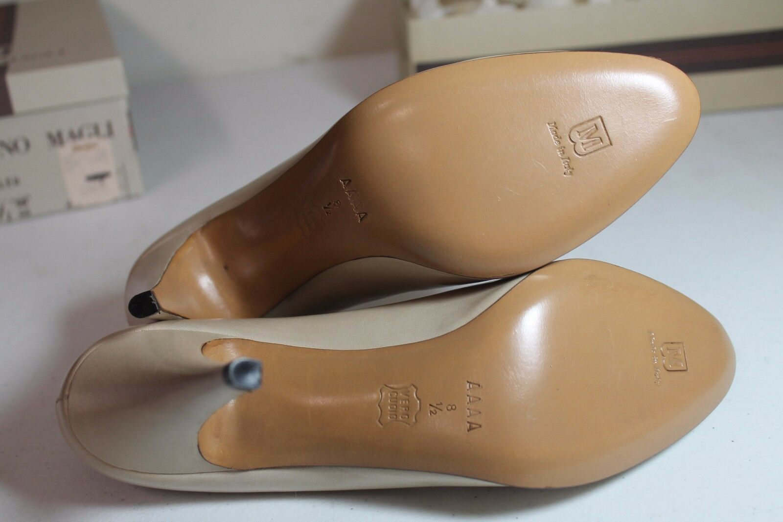 Italian Bruno Magli Bone Gilda Beige Patent Leather Open Toe Toe Toe SZ 8.5 AAAA d627b5