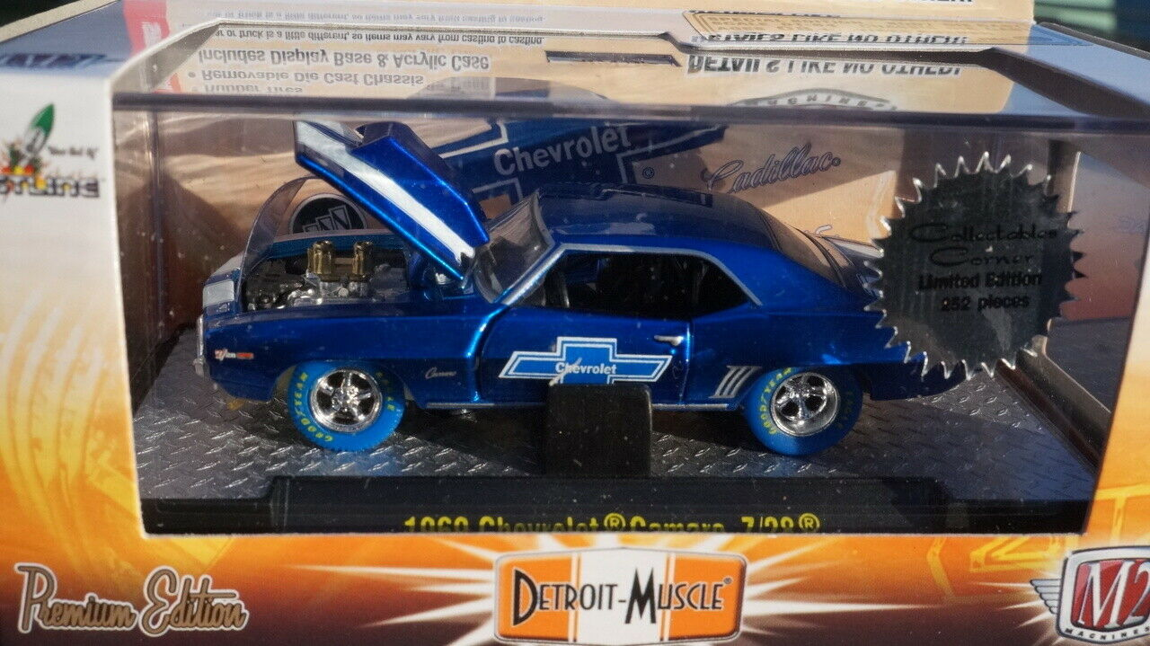 M2 1969 69 Chevy Camaro Z 28 Super Chase blu Neumáticos 1 252 hecho 1 64 Diecast