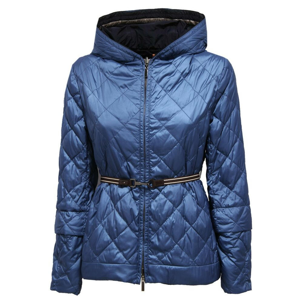 3364j Giubbotto Donna S Maxmara Reversible Blue Light Padding Jacket Woman