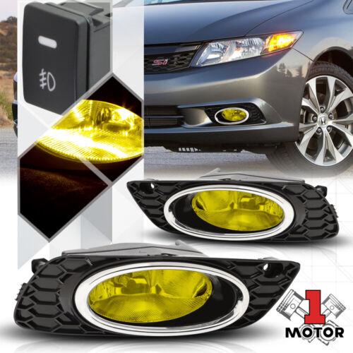 Yellow Fog Light Bumper Lamps w//Switch+Harness+Bezel for 2012 Honda Civic Sedan
