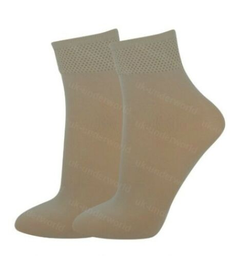Ankle Pop Socks 3 Pairs Ladies Thin Trouser Tights Womens 4-6.5 Black Or Nude
